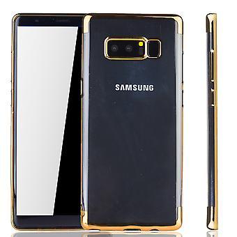 Handy Hülle Schutz Case für Samsung Galaxy Note 8 Durchsichtig Transparent Gold