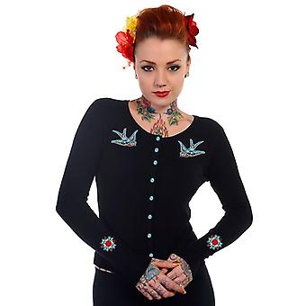 Banned - blue swallows - womens  - long sleeve cardigan