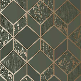 Superfresco Vittorio Geo Wallpaper Charcoal / Rose Gold Graham and Brown 107693