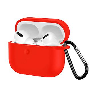 Soft Case Apple AirPods pro Anti-fingerprint Anti-Scratch with Carabiner- Red