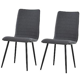 HOMCOM Set of 2 Armless Dining Chairs w/ Metal Frame Linen Upholstery Padding Foot Pads Simple Modern Style Grey