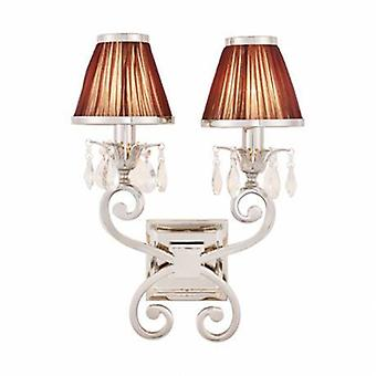 2 Light Indoor Twin Candle Wall Light Polished Nickel Plate With Chocolate Shades