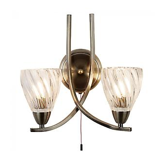 Wall Light 2 Bulbs Ascona Ii, In Antique Brass And Glass