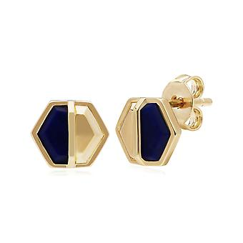 Micro Statement Lapis Lazuli Hexagon Stud Earrings in Gold Plated 925 Sterling Silver 270E027502925