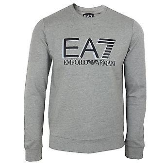 Ea7 emporio armani men's medium grey marl logo sweatshirt