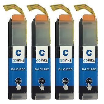 4 Cartucce di inchiostro ciano per sostituire Brother LC125XLC Compatibile/non OEM di Go Inks