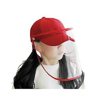 Outdoor Hat Anti Fog Dust Saliva Cap Full Face Shield Cover Kids Red