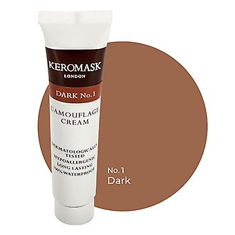 Keromask Full Cover Concealer | 24 Shades | Covers Vitiligo, Rosacea, Scars, Tattoos | Waterproof Camouflage Makeup | Dark No 1 | 15ml