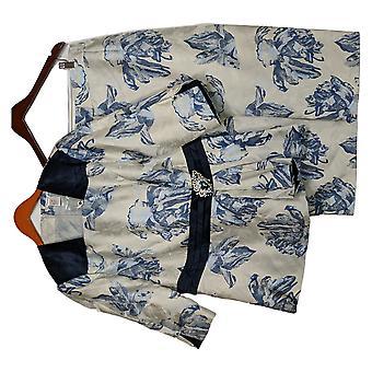 Masseys Plus Set Navy Floral Skirt Suit Navy Blue / Gray