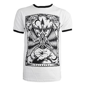 Dark Side-Baphomet-mens zwart Ringer t-shirt-wit