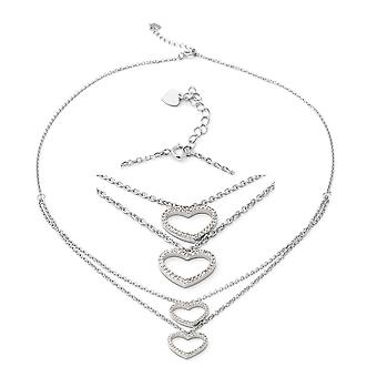 "Heart Cubic Zirconia CZ Necklace Silver Size 17.5"", 1.26 Ct Christmas Gift"