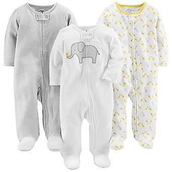 Simple Joys by Carter's Baby 3-Pack Neutral Sleep and Play, Elephant, Stripe,...