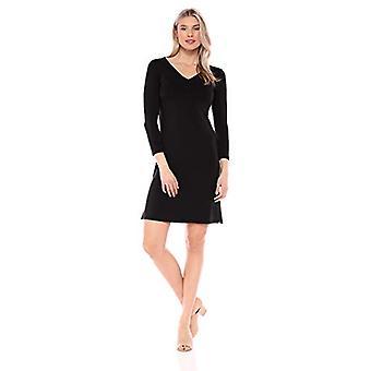 Brand - Daily Ritual Women's Supersoft Terry Bracelet-Sleeve V-Neck Dress, Black , Large