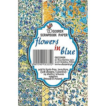 Fleurs de décorer dans le paquet de papier bleu (7x10.8cm) (M39)