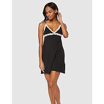 Iris & Lilly Women's Modal Spaghetti Nightgown with Lace, (Black), EU M (US 8)