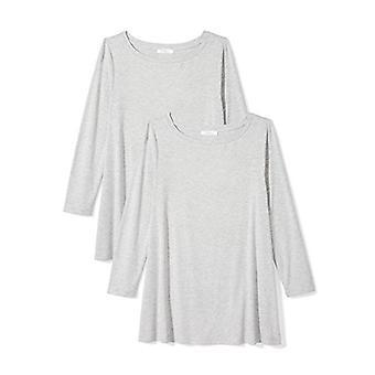 Brand - Daily Ritual Women's Jersey 3/4-Sleeve Bateau-Neck Swing T-Shirt, Light Heather Grey/Light Heather Grey, Small