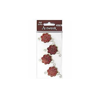 Patterned Crimson Flower Craft Embellishment By Artoz