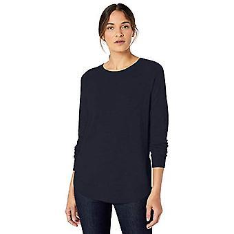 Lerche & Ro Frauen's Rundhals Shirttail Saum Pullover, dunkle Marine, groß