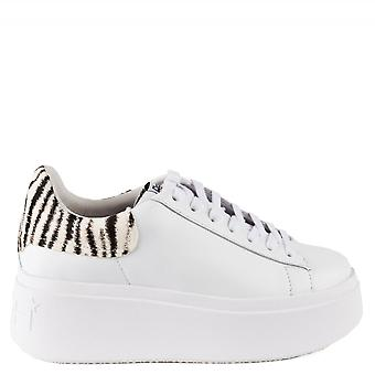 Ash Footwear Moby Platform Trainers White And Zebra Print Pony Hair
