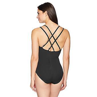 Coastal Blue Women's Control One Piece Swimsuit, Black, M