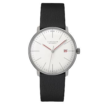 Junghans Max Bill Automatic Bauhaus White Dial Black Leather Strap Mens Watch 027/4009.02