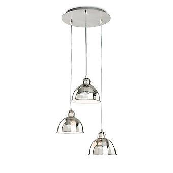 Firstlight Baron - 3 Light Dome Loft Vedhæng Børstet Chrome, E14
