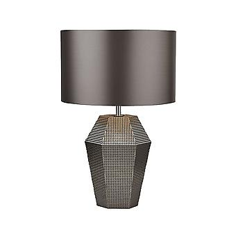 Searchlight - Table Lamp Smoked Glass with Grey Drum Shade