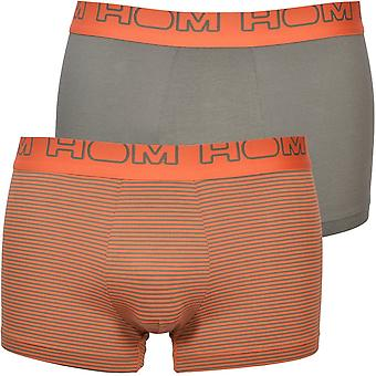 HOM 2-Pack Striped Boxer Trunks, Khaki/Orange
