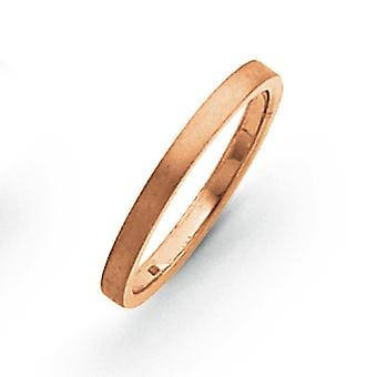 14k Solid Flat edge Rose Gold 2mm Flat Satin Band Ring Jewely Gifts for Women - Ring Size: 4 a 8