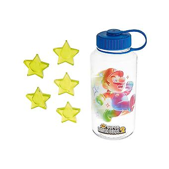 Super Mario Water Bottle Mario running with Ice cube Stars new Official Plastic