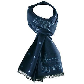 Krawatten Planet Tresanti Marine blau & hellblau Bulldogge und Punkt Doppel Gesicht Schal
