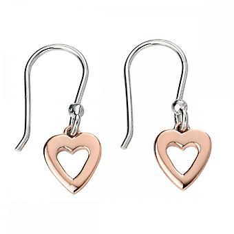 Elemente Silber Rose Gold offenes Herz Ohrringe E5139
