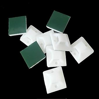 Self Adhesive Cable Wire Zip Tie Mounts- 100pcs White Cable Base Tie Mounts