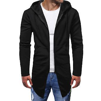 YANGFAN Men's Hoodies Zipper Cardigan Solid Color Casual Long Sweater