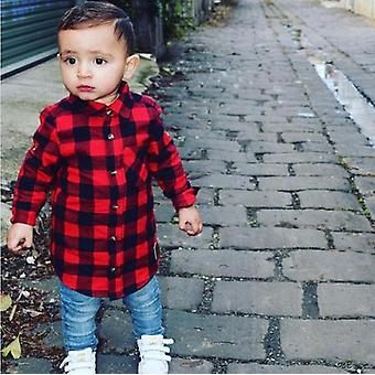 Newborn Unisex Clothes Shirt Long Sleeve Plaid Shirts For Kids