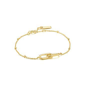 Ania Haie Chain Reaction Shiny Gold Beaded Chain Link Bracelet B021-01G