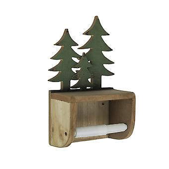 Hand Painted Forest Pine Tree Wooden Toilet Paper Roll Holder With Phone Shelf
