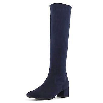 Peter Kaiser Tomke Pull On Stretch Knee High Boots In Navy Suede