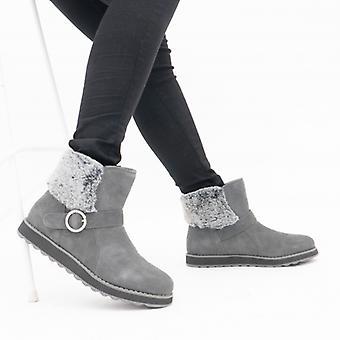 Skechers تذكارات 2.0 السيدات جلد الغزال أحذية الكاحل الفحم