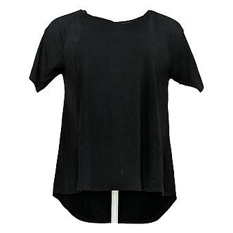 Anybody Women's Top Cozy Knit Short-Sleeve Swing Black A349828