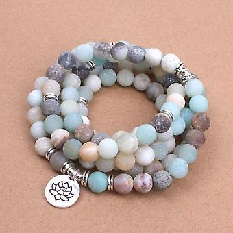 Women`s Bracelet Matte Beads With Lotus Buddha Charm Yoga Bracelet Necklace