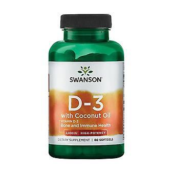 Ultra Vitamin D3 w/Coconut Oil 2000 IU 60 softgels