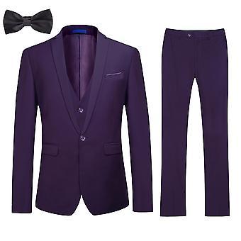 Allthemen Mænd's 4 stykker Suit Slim Fit Party Blazer Vest Bukser Halsklud Sæt