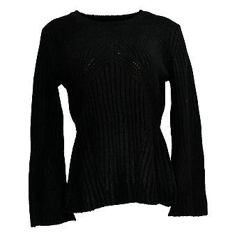 G.I.L.I. Got It Love It Women's Sweater Peplum Ribbet Detail Black A380546