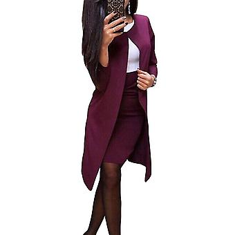 Office Lady Autumn Solid Color Long Blazer Jacket Mini Skirt Suit Lady