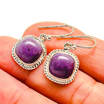 "Charoite Earrings 1 1/8"" (925 Sterling Silver)  - Handmade Boho Vintage Jewelry EARR409102"