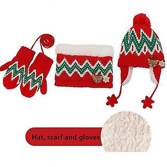 Talvihuivi, hattu- ja hansikassetit, ulkona lämmin samettinen pavunkorkki