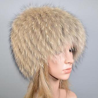 Winter natuurlijke echte vos bont hoed, elastische warme zachte pluizige echte pet