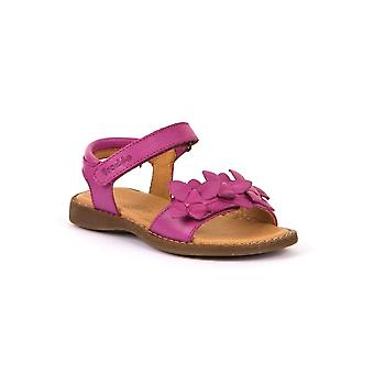 FRODDO Leather Sandal With Flowers Fuchsia Pink