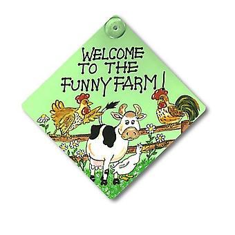 Etwas anderes Willkommen bei Funny Farm Fenster Zeichen